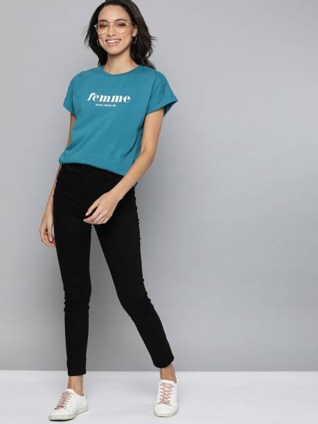 MAST & HARBOUR Typography Women Round Neck Blue T-Shirt