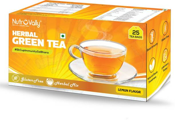 NutroVally herbal green tea for weight loss & Build Immunity   Premium tea leaves with Active Ingredients Lemon Herbal Infusion Bags Box