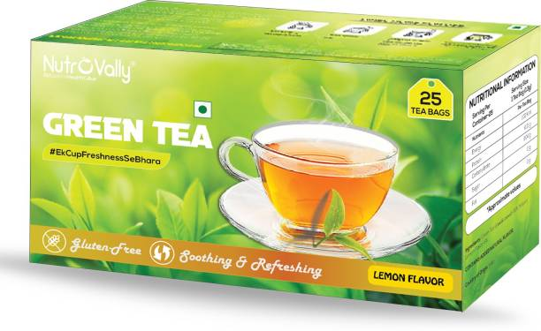 NutroVally green tea for weight loss & Build Immunity | Premium tea leaves with Active Ingredients Lemon Green Tea Bags Box