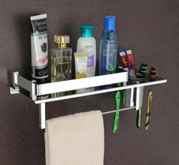 GOLDEN LIKE by GOLDENLIKE Stainless Steel 3 in 1 Bathroom Shelf/Rack/Towel Hanger/Toothbrush Holder/Towel Rod/Bathroom Accessories Stainless Steel Toothbrush Holder ,SS-304 Steel Towel Holder