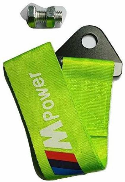 Trac prasoum Universal Car Auto Trailer Tow Strap Short Loop Set Kit with Bumper Hook (Neon Green) 0.2 m Towing Cable