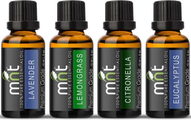mnt Aroma Scented Diffuser Oil 4 in1 SET OF ESSENTIAL OIL(Lavender, Lemongrass, Citronella, Eucalyptus (Each 15ml