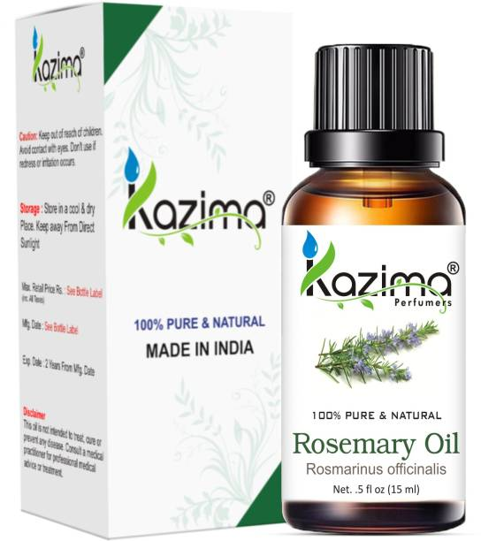 KAZIMA Rosemary Essential Oil (15ML) Pure Natural - Use For Aromatherapy, Health Boost, Hair Re-Growth, Skin Care, Face