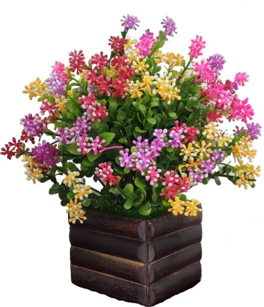 BK Mart Multicolor flower Plant with Brown Wooden Pot Bonsai Wild Artificial Plant  with Pot