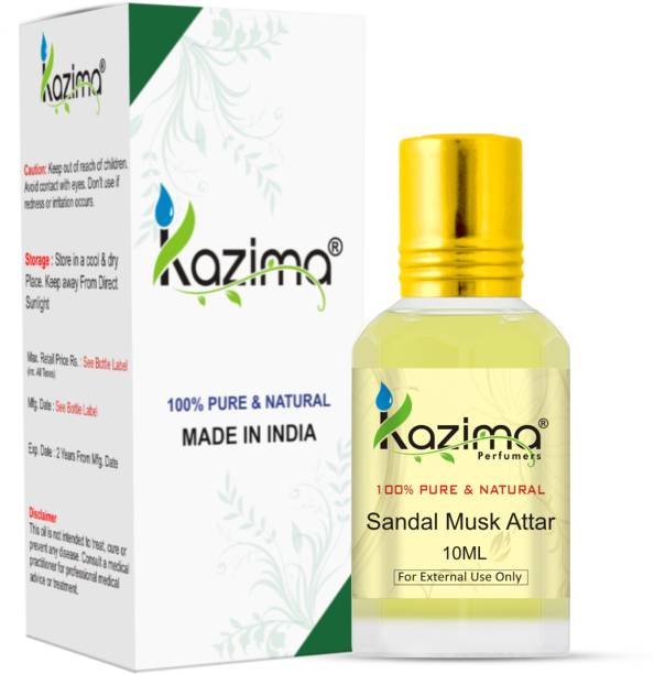 KAZIMA Sandal Musk Perfume For Unisex - Pure Natural (Non-Alcoholic) Floral Attar