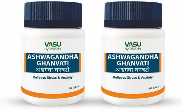 VASU Ashwagandha Ghanvati Tablets Helps To Relieve Stress and Anxiety -60 Tablet (Pack Of 2)