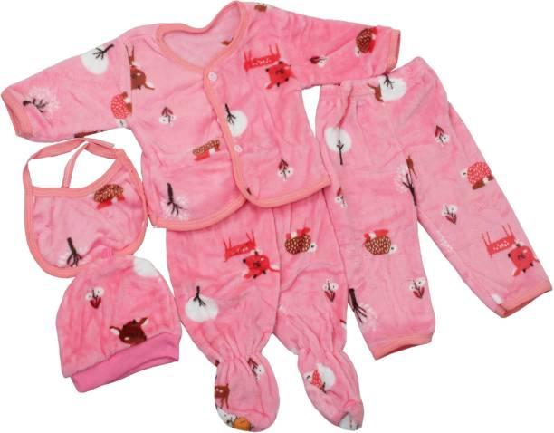 Honey Boo Presents New Born Baby Winter Wear Keep warm Baby Clothes 5Pcs (Blue)