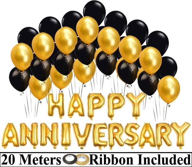 DECOR MY PARTY Solid Happy Anniversary Golden Letter Foil Balloon Set with Metallic Balloons & Curling Ribbon for Wedding Anniversary Celebration , Room Decorating Items / Anniversary Decoration Items / Happy Anniversary Balloons for Party Decorations Letter Balloon