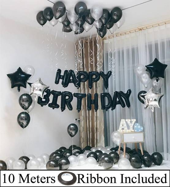 DECOR MY PARTY Solid Happy Birthday Letter Foil Balloon Set with Star Foil , Metallic Balloons & Curling Ribbon for Birthday Party Decoration / Balloons Arch Strip / Birthday Decorations Kit Letter Balloon