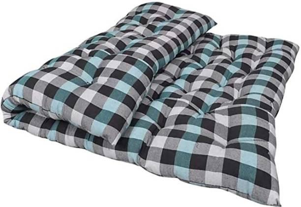COLOFLY Soft Cotton Multicolour Mattress / Gadda Single Bed Blue 4 inch Single Cotton Mattress