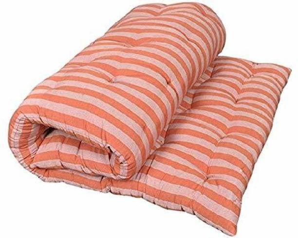 COLOFLY Soft Cotton Multicolour Mattress / Gadda Single Bed Orange 4 inch Single Cotton Mattress