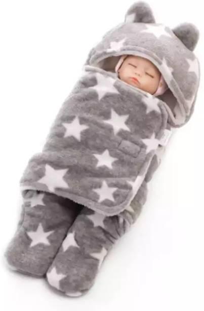 BRANDONN Printed Single Hooded Baby Blanket
