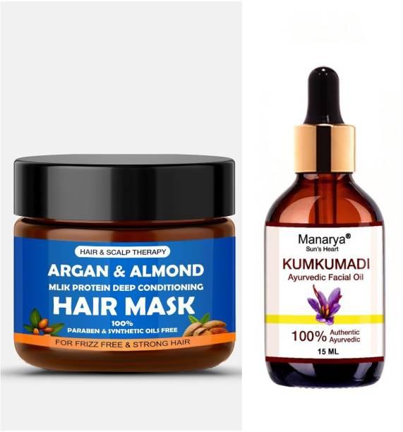 Manarya Sun's Heart Face & Hair Combo ( 1 Argan & Almond Hair Mask 100gm, 1 Kumkumadi Facial Oil 15ml)