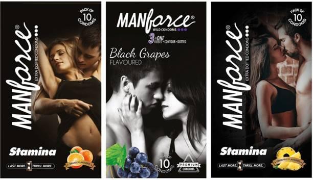 MANFORCE BLACK GRAPES,STAMINA ORANGE AND STAMINA PINEAPPLE WITH 3 IN 1 Condom