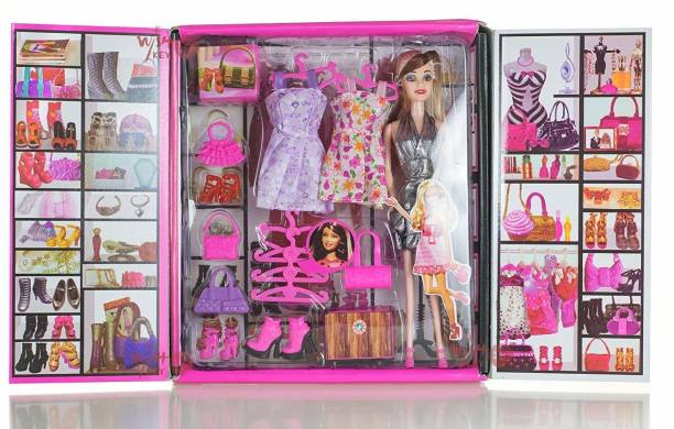 KT BROTHER Girl Doll and Her Personal Style Wardrobe Set Toy for Kids Girl's Fashion Stylish Dresses and Accessories