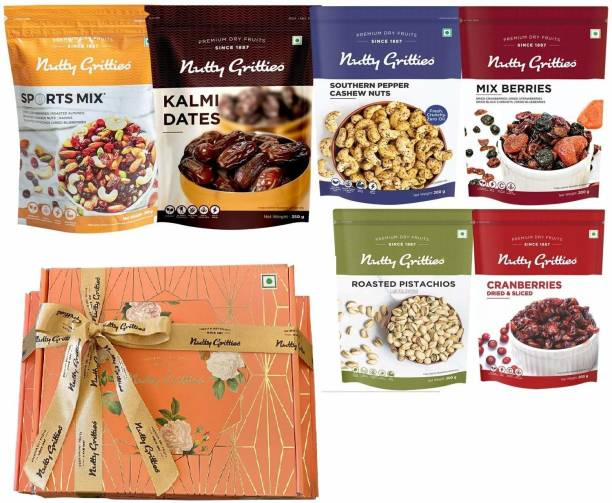 Nutty Gritties Dry Fruits Gift Box - Sports Mix, Kalmi Dates, Mix Berries, US Cranberries, Roasted Pistachios, Pepper Cashews - Combo