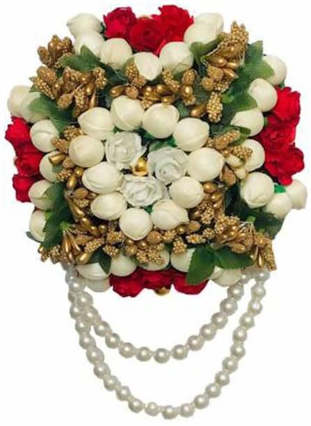 VinshBond Designer flower Full Juda Bun Hair Flower Gajra for Bridal and Parties for Women in Multicolor, Pack of 1 Bun