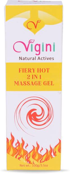 Vigini Plus 100% Natural Actives Fiery Hot 2 In 1 Aromatherapy Massage Gel Effective Lubricant Lube Jelly Water Based Lubricating Lubrication No Added Color Non Staining wash able for Men Women Lubricant