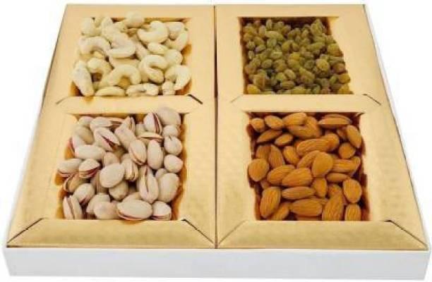 "Sainik's Dry Fruit Mall Sainik Dry Fruit Mall - Start UR Day ""Traditional Way"" Diwali Gifts of Dry Fruits Hamper / Dry Fruit Gift Box, 400 Grams Raisins, Pistachios, Cashews, Almonds (400 g)"