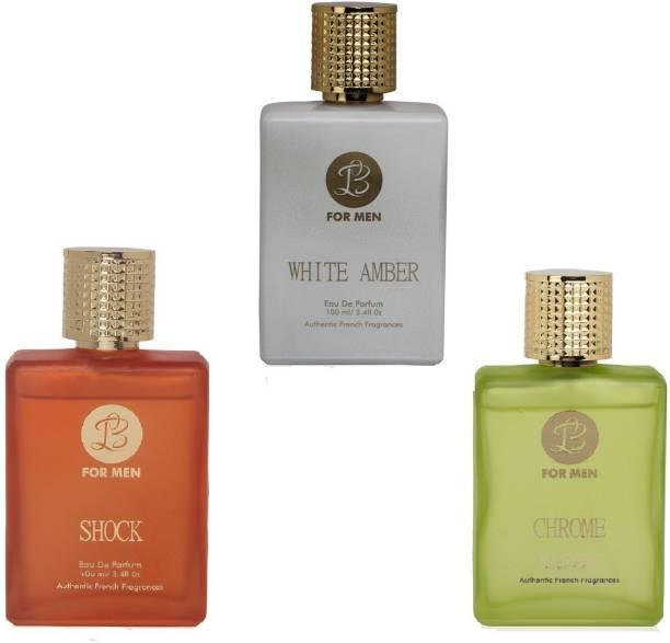 Lyla Blanc WHITE AMBER SHOCK CHROME Perfume Spray for Men- (Set of 3) (100ml each) Eau de Parfum  -  100 ml