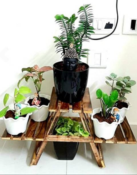 SIFU COLLECTION WOODEN PLANTER STAND FOR HOME DECOR/FLOWER POT STAND, EASY TO STAND Plant Container Set (Wood) Plant Container Set
