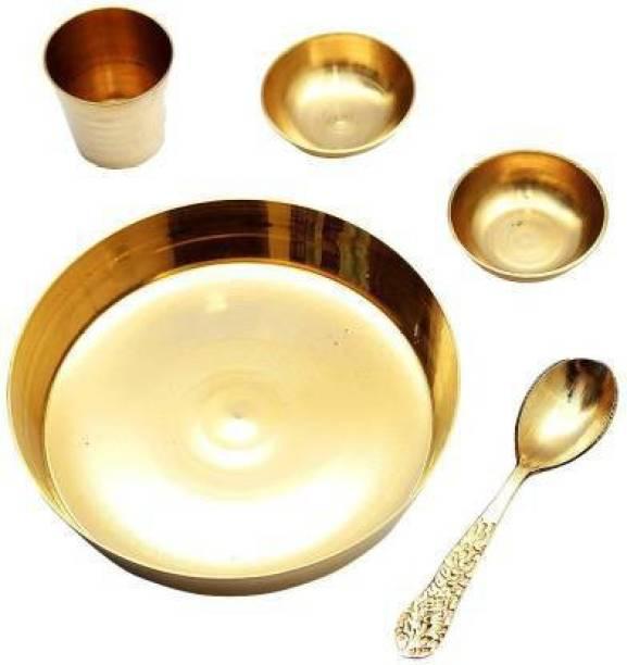 SBBCO Brass Laddu Gopal Bhog Thali Set with 2 Katori, 1 Glass, 1 Spoon for Temple Home Décor Brass