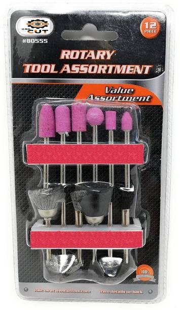 "GSK Cut 12Pcs Rotary Tool Set, Hobby Craft, Die Grinder Accessory Set 1/8"" Shank Rotary Bit Set"