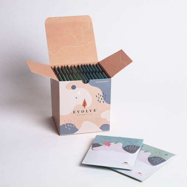 EVOLVE ESSENTIAL Premium Acrobat Cotton Sanitary Napkins, Nontoxic Ecosafe & Rash-free (Pack of 15Pads: 7 Heavy Flow & 8 Medium Flow) Sanitary Pad