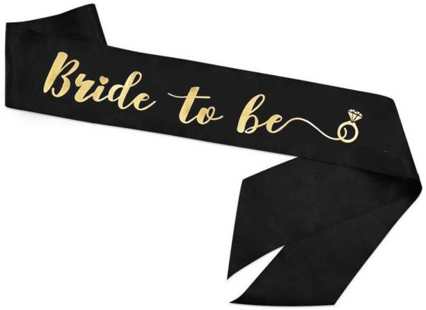 Quick Bride to Be Satin Sash Black with Foil Gold Print for Bridal Shower, Marriage Props Decorations,Bride Groom Family Bachelorette, Balloons Photo Booth Props Shoot/Photoshoot/Bachelor sache