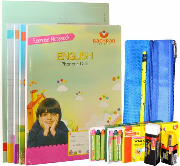 Bachpan My Third Learn-to-Write|5 Workbooks 224 Pages|Stationery Zip Pouch|Crayons, Colour Pencils,Pencil,Sharpener,Eraser|Age 2-5 Years|English Phonetic Drill|Hindi Shabd Rachna|1 to 100 Counting|1 to 10 Tables|Activity Sheets|Develop-Fine Motor Skills, Good Handwriting, Memory,Problem Solving, Builds Vocabulary School Set