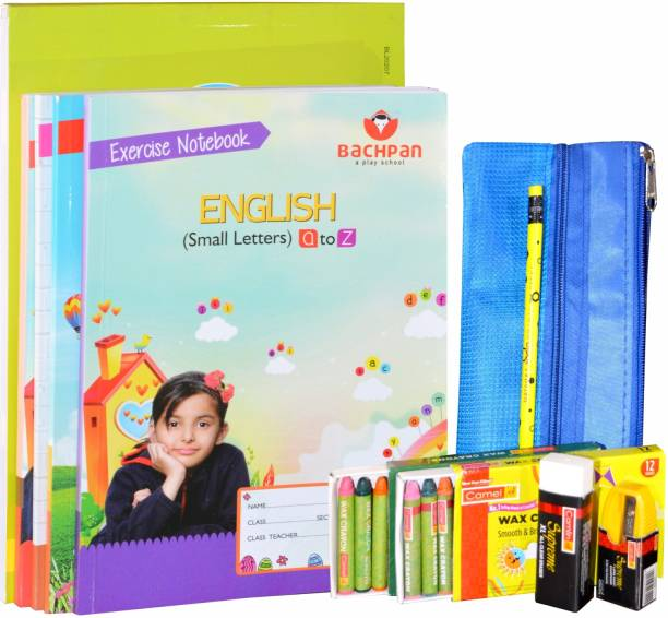 Bachpan My Second Learn-to-Write'|5 Workbooks 257 Pages|Stationery Zip Pouch|Crayons,Colour Pencils,Pencil, Sharpener,Eraser|Age 2-5 Years|a to z Small Letters|E Hindi Vyanjan|1 to 50 Counting|English Cursive Writing Capital & Small|Activity Sheets|Develop-Fine Motor Skills,Good Handwriting, Memory,Problem Solving, Builds Vocabulary School Set