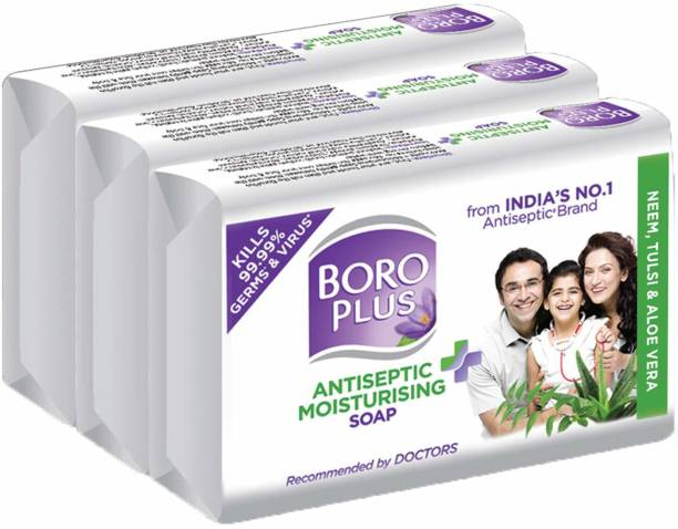 BOROPLUS Antiseptic + Moisturising Soap - Neem, Tulsi & AloeVera (Pack of 3)