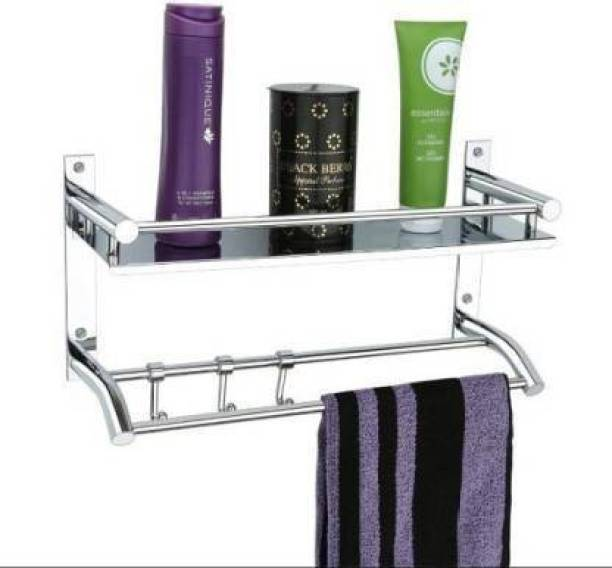 Hariom Sales Single Self Sainless Steel Bathroom Shower Caddy, Bathroom Shelf Wall Hanging Storage Organizer Kitchen Rack with Shampoo, Soap Holder and Towel Rack Hanger steel Towel Holder (Stainless Steel) Silver Towel Holder