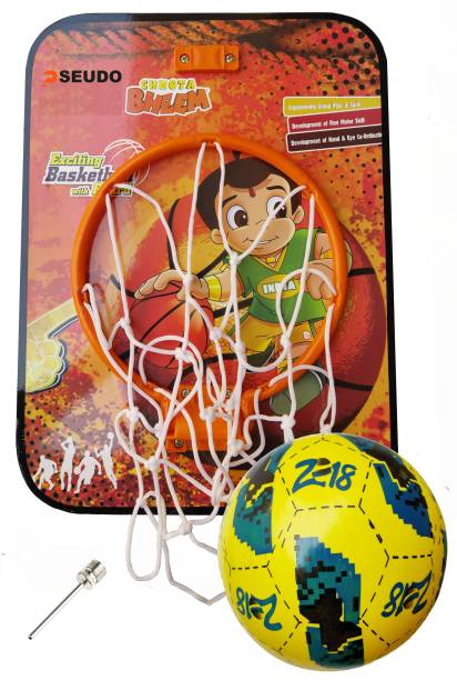 Pseudo Basket Ball kit for Kids Playing Indoor Outdoor Basket Ball Hanging Board with Rubber Ball Sports Basketball