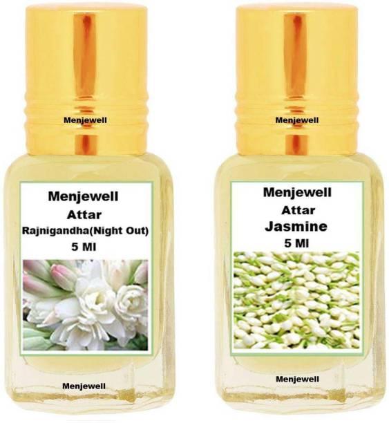 Menjewell Pack of 2PCS Attar(Rajnigandha 5ML,Jasmine 5ML)Natural Itra/Attar/ Perfume Floral Attar
