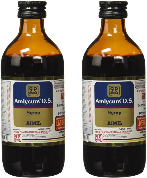 AIMIL Amlycure D.S. Syrup for Liver Health Natural Liver Herbal Tonic | Improves Cell Function and Increases Immunity (Pack of 2)