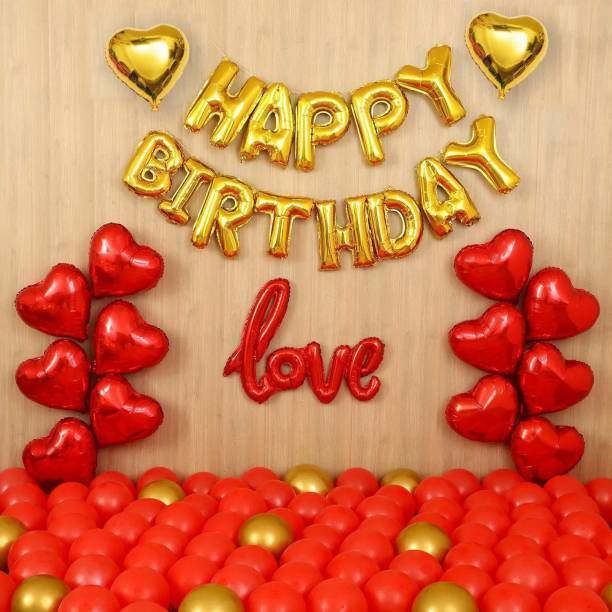 DECOR MY PARTY Solid Red Love , Golden Happy Birthday Letter Foil Balloon Set with Heart Shape , Metallic & Chrome Balloons for Birthday Party Decoration / 1st Birthday Decorations Kit Letter Balloon