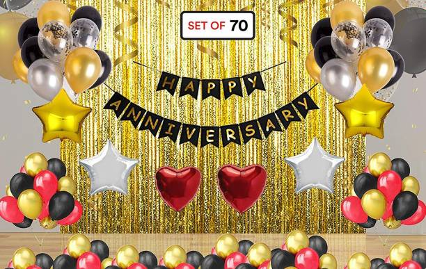 DECOR MY PARTY Solid Happy Anniversary Banner Combo with Foil Curtain , Golden Star , Heart Shape , Metallic Balloon & Curling Ribbon for Anniversary Party Decorations / Wedding Anniversary Decoration Items Balloon