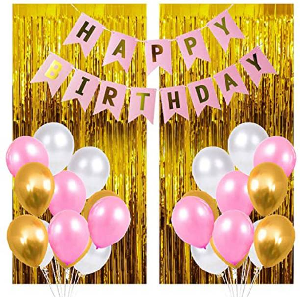 DECOR MY PARTY Solid Happy Birthday Pink Paper Banner with Metallic Balloons & Party Decorative Golden Foil Curtain for Girls Party Decoration / 1st Birthday Decorations Kit for Baby Girl Balloon