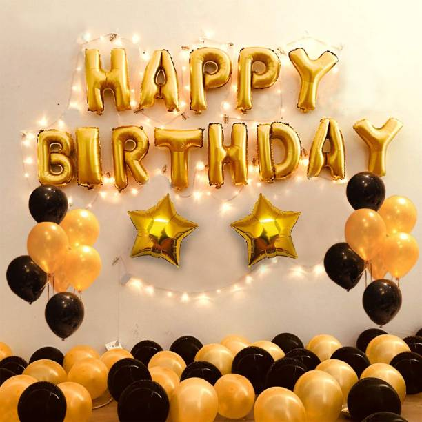 DECOR MY PARTY Solid Happy Birthday Golden Letter Foil Balloon Set with LED Fairy Lights , Star & Metallic Balloons for Birthday Party Decoration / 1st Birthday Decorations Kit Letter Balloon