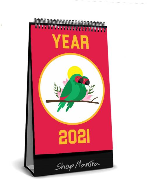 "ShopMantra Colorfull Birds Print Table Calendar-Desk Calendar 2021 ( Size 5.5"" Inch x 8"" Inch )   Office   Home  Classroom 2021 Table Calendar"