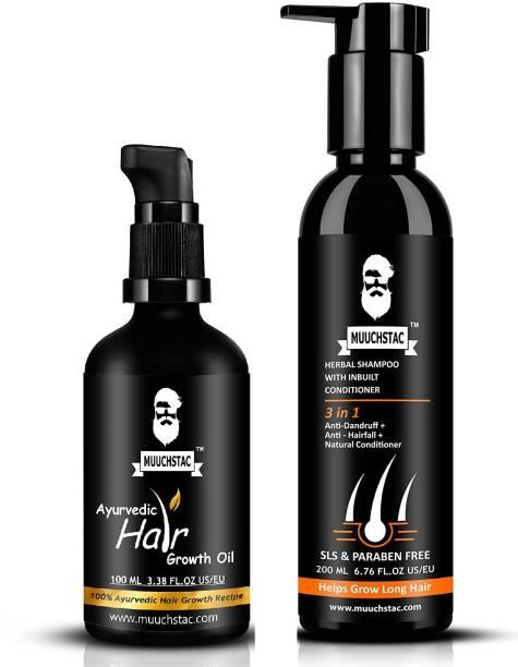 MUUCHSTAC Hair Care Kit - Ayurvedic Hair Growth Oil & Herbal Shampoo