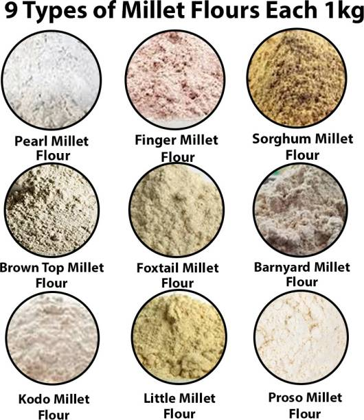 Lippia 9Types of millets each 1kg, Pearl Millet Flour, Finger Millet Flour, Sorghum Millet Flour, Brown Top Millet Flour, Foxtail Millet Flour, Barnyard Millet Flour, Kodo Millet Flour, Little Millet Flour, Proso Millet Flour.