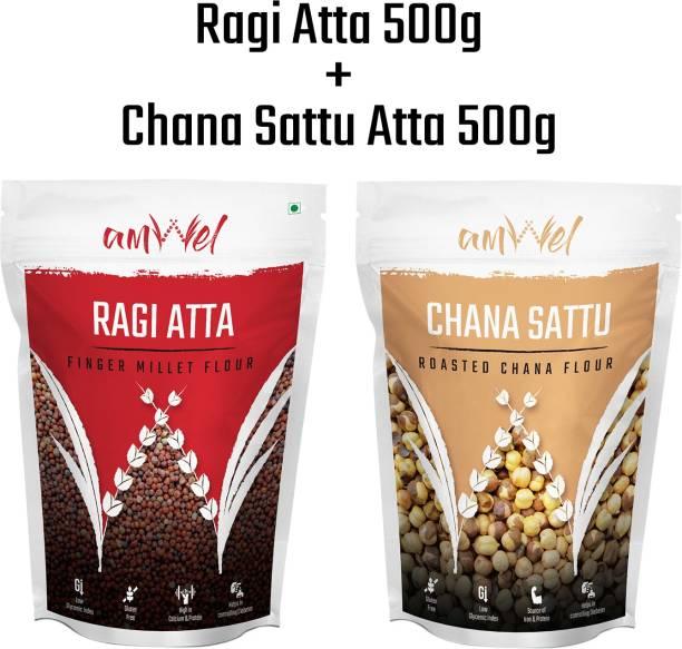 Amwel Combo of Ragi Atta 500g + Chana Sattu 500g (Pack of Two)