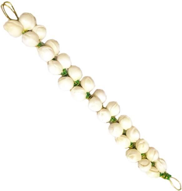 BELLA HARARO Artificial Mogra Flower Gajra Hair Accessory Set (White)-Pack of 1 Bun