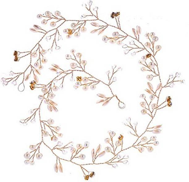 VAGHBHATT Golden Fashion Hand Made Headdress (50 cm) Wedding Crown Pearl Floral Hair Accessories Crystals Bridal Wedding Headband, Hair Vine and Headpiece for Girls and Women Hair Pin