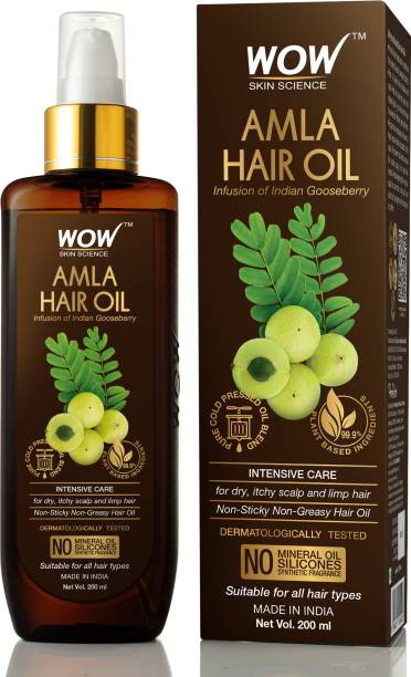 WOW SKIN SCIENCE Amla Hair Oil - Pure Cold Pressed Indian Gooseberry Oil - Intensive Hair Care - Non-Sticky & Non-Greasy - No Mineral Oil, Silicones, Synthetic Fragrance - 200mL Hair Oil