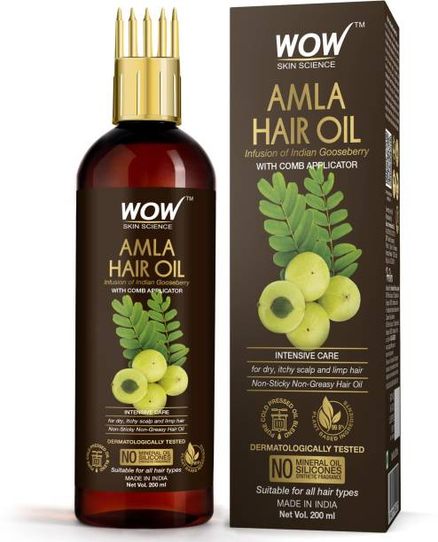 WOW SKIN SCIENCE Amla Hair Oil - Pure Cold Pressed Indian Gooseberry Oil - Intensive Hair Care - with Comb Applicator - Non-Sticky & Non-Greasy - No Mineral Oil, Silicones, Synthetic Fragrance - 200mL Hair Oil
