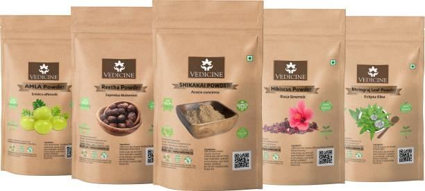 VEDICINE Amla Reetha Shikakai Hibiscus and Bhringraj Powder For Hair Pack (50g each)