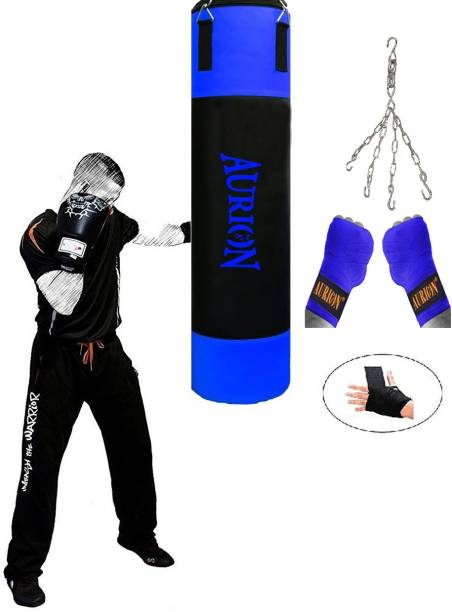 Aurion Heavy Punch Bag 4 Feet Boxing MMA Sparring Punching Training Kickboxing Muay Thai with Boxing Hand Wrap & Hanging Chain Boxing Kit